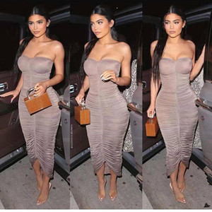 Kim Kardashian bodycon Robes plissées Peplum Sexy Ladies 'Club Mode Robes bustier Vêtements Femmes