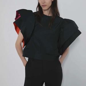 DEAT 2019 Осень Vintage Короткие рукава бабочка женщин черный Элегантные блузки женские рубашки Streetwear Топы Блузка MH112