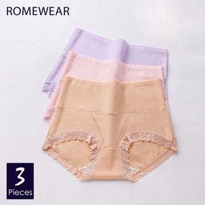 New Cotton cintura alta Calcinhas Mulheres Macio underwear confortável Lace Feminino moldar o corpo Lingeries Briefs grande tamanho XXL ROMEWEAR