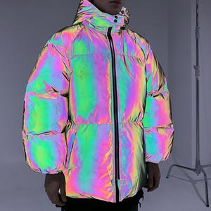 Gli uomini Hip Hop con cappuccio Parka AB colore dell'arcobaleno 3M Reflective uomini Windbreaker Streetwear Harajuku inverno Giacca imbottita Top Coat