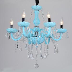 Kristal avizeler aydınlatma led avize Akdeniz E14 Mavi Salon Yatak odası Coffee Shop Otel Lüks asılı lamba