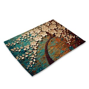 Plant Series Oil Painting Flowers Placemat Rectangle Cotton Linen Table Mats for Dining Table Kitchen Decoration Accessories Mat T200703