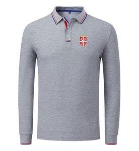 Sırbistan Futbol Takımı Toptan özelleştirme Logo Erkekler Nefes Uzun Kollu Polo Futbol Spor Golf Casual Spor Giyimi Wear