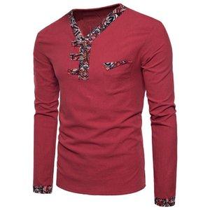 Mens stile cinese con scollo a V Pulsante magliette Uomo Autunno manica lunga Patchwork Lino T-shirt di moda vestiti nuovi