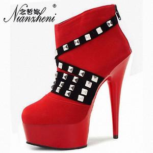 15cm Ayak bileği Boots Yuvarlak Burun Flock Perçin Kırmızı Kısa Çizme Seksi Gladyatör Çapraz Elbise Lady Shoes 6 inç İnce Topuklar Giyinme