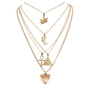 Halskette Gold-mehrschichtige Halskette Maple Leaf Pharao Pyramide Herz-Halsketten-Verpackungs-Halsketten-Anhänger Stapelungen drop ship