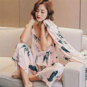 Imposta Pigiama Womans Pajamas Set Sling pigiama di cotone 3 Peices Sleepwear per le donne maniche lunghe traspirante sexy Robe Homewear