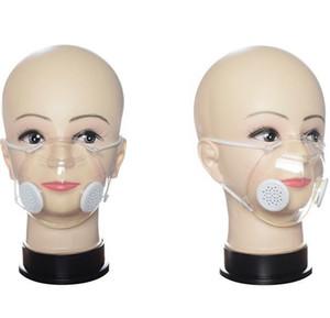 Trasparente mascherina con valvola PP trasparente maschera con doppio respirazione maschere valvola anti-polvere lavabile sordomuto maschere Designer GGA3538-3