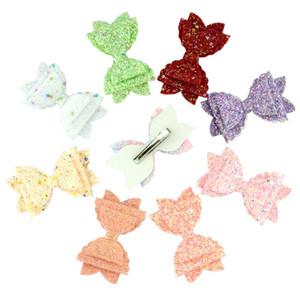 Kız Moda Çocuk Hairbows Tokalar Tokalarım Şapkalar için 15pcs / lot Sequins Saç Yaylar Sweet Renkli Glitter Saç Klipler