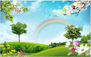 belas paisagens 3d papéis de parede Céu azul e arco-íris grama nuvem branca papéis de parede de fundo TV paisagem natural