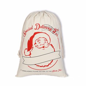Christmas Large Canvas Santa Claus Drawstring Bags With Reindeers Monogramable Xmas Gifts Packing Bags Free DHL Shipping