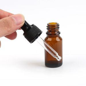 768pcs lotto 10ml bottiglie vetro ambrato con contagocce 1 3 OZ vetro E bottiglie di liquido Contagocce bottiglia con Bulk nero coperchi stock