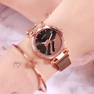 Luxe Fasion dame de cristal de diamant montres femmes en or rose glacÉ montre bracelet en acier montre cygne concepteur mouvement quartz aimant boucle