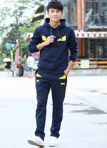 Wholesale Simple Fashion Mens Little Monster Prints Designer Tracksuits Men's Hooded Long Sleeved Sweater Trousers Casual Two Piece