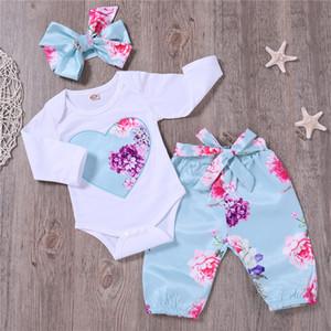 Patpat Printemps Automne Coton Casual du nouveau-né Belle Floral Bodysuit et pantalon et Bow Bandeau Ensemble pour le bébé Jumpsuit