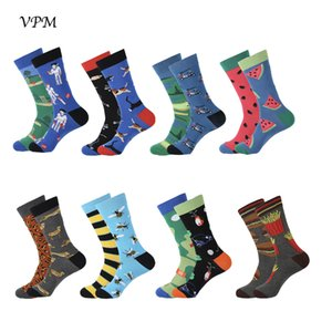 VPM New Colorful Cotton Cool Men's Crew Socks Harajuku Hip hop Cartoon Funny Novelty Bee Golfer Socks for Male Gifts