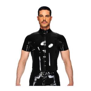 Camisas de couro Das Mulheres Dos Homens de Couro PU Zíper T Camisas Dos Homens de Fitness Sexy Tops Gay Latex T-shirt Tees Camisa Uniforme Do Punk