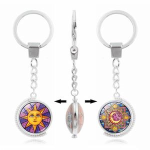 Porte-clés rotatif double face Time Gem Cabochon porte-clés pendentif verre soleil et lune