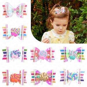 Mädchen-Regenbogen-Lutscher Nette Kinder Hairpin Steigungs-Haar-Klipp-Zubehör für Kinder Haarschmuck Haarspangen Haarspange Kopfschmuck D62802