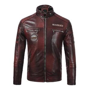 Biker ceketler Yaka Uzun Kollu Kalın Tasarımcı Erkek Deri Ceket Sonbahar Erkek Baskılı Coats PU Deri Mens Standı