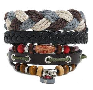 100% genuine leather bracelet DIY Cotton rope Braid Pendants Beading Men's Combination suit Bracelet 3styles 1set