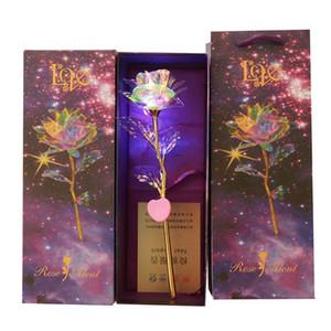 Presenta flor de luz LED de colores nueva Artificial hoja de oro 24K Rose luminoso único y regalos de boda Día de San Valentín Caja de regalo Para XD22917