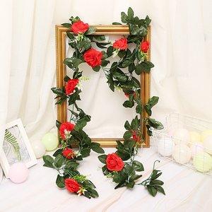 240cm 11pcs Yapay Güller Çiçek Vines Rattan Ev Bahçe Dekorasyon DIY Düğün Kemerler Garland Yeşil Yapraklar 33pcs ile