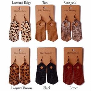 hecha a mano del cuero genuino pendientes de Boho Geometría del estampado leopardo de la borla de la joyería colgante Pendientes Mujeres Bijoux Pendientes