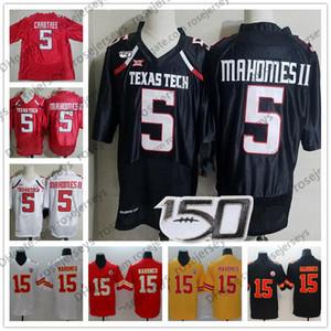 NCAA TTU Texas Tech 5. Patrick Mahomes II Siyah Jersey Kırmızı 2019 CFB 150. Kansas Beyaz Michael Crabtree KC Sarı Erkek Formalar