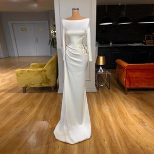 Off The Shoulder Mermaid Evening Dresses With Appliques Beaded 3D Flower Formal Long Sleeves Prom Dress Satin Cocktail Party Gowns Vestidos