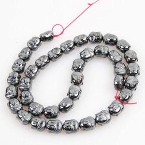 Pierre naturelle 9 * 10 mm hématite lumineux non magnétique Tête de Bouddha énergie Perle en vrac Bijoux Faire bricolage Bracelet Collier Accessoires