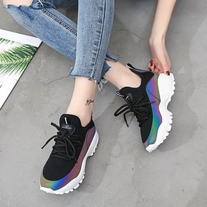 Fitness Cross Training Shoes Sneakers New Ins Daddy Shoes For Women Ulzzang Super Fire Dazzle Woman Running Gym