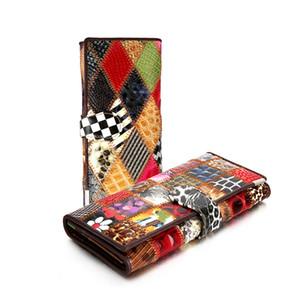 Fashion Genuine Leather Women Wallets Patchwork Hasp Coin Pocket Purse Female Clutch Bag Money Clip Slim Carteira Cartera Mujer
