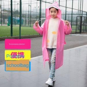 Baby rain solid color boy schoolbag one-piece poncho long hiking Schoolbag Cloak coat pupil thickened girl raincoat coat