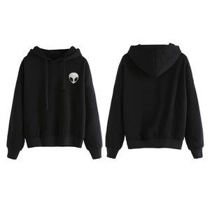 Halloween Frauen Winter Herbst Sweatshirt Alien Gedruckt Lustige Langarm Hoodies Lose Beiläufige Pullover Tops Chic Schwarz