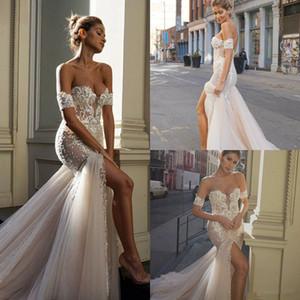 2020 Sirène Robes de mariée avant divisée chérie Applique dentelle balayage train robe de mariée Boho robes de partie Sposa Bohème Robes de mariée 4483
