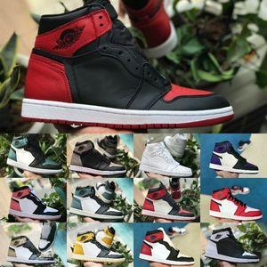 2019 Nike Air Jordan 1 retro jordans OG Mi Homage Banned Bred Jeu Royal Blue Lièvre Femmes Chicago Basketball Chaussures Hommes 1s Rouge Blanc Noir Toe Sneakers