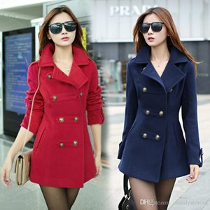Wholesale-2015 Women's winter long slim Woolen overcoat female cotton lapel trench coat for women thick warm coat abrigos mujer B56