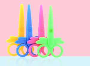 Utility Knife safety plastic scissors student children's paper-cut kids manual scissors puzzle multi-function stationery scissors Free DHL