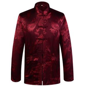 Satin Collare del mandarino Drago seta Tang Suit Abbigliamento Kung Fu del cappotto del rivestimento degli uomini cinese tradizionale di marca di nuovo arrivo di