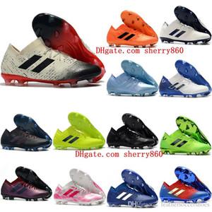 2019 رجل لكرة القدم المرابط Nemeziz ميسي 18.1 FG أحذية كرة القدم Nemeziz 18 chaussures دي أحذية كرة القدم chuteiras دي futebol البرتقال