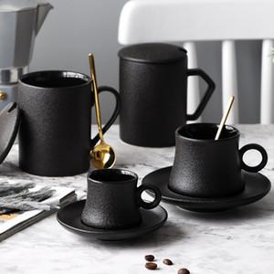 MUZITY taza de cerámica del café Conjunto Negro helada taza de porcelana de té y platillo con acero inoxidable 304 Cuchara de cerámica taza de café