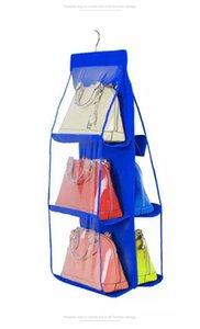 Dois lados de suspensão saco de armazenamento Shoes Handbag Organizer saco de armazenamento Closet Hanger Handbag Titular organizador