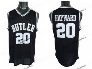 Mens Butler Bulldogs Gordon Hayward College camisetas de baloncesto Vintage Negro # 20 Baratas Gordon Hayward cosidas camisetas de baloncesto S-XXL