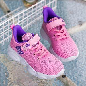 2019 puxar para trás sapatos infantis outono meninas sapatos escola primária meninas sapatos líquidos esportes grandes crianças net correndo fundo macio