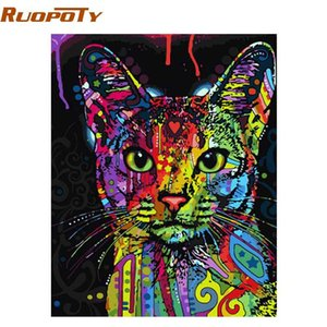 RUOPOTY colorida del gato pintura de DIY por los abstracta moderna del arte de la pared Imagen Kits para colorear Pintar por números para la decoración casera