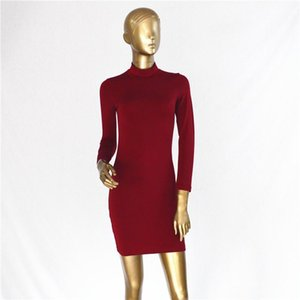Women Bodycon Dresses Spring Autumn Turtleneck Back Gold Zipper Designer Dress Long Sleeved Clothes