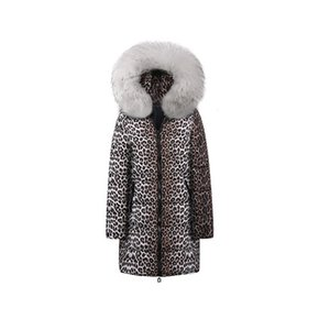 Womens Designer Brasão Long Down Sexy Padrão Leopard grossas Jackets Impressão Womens Inverno Fur Collar roupa com capuz 7 estilos