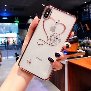 Moda Aşk Kalp Elmas Kaplama Yumuşak Telefon Kılıfı iPhone 11 Pro X XR XS MAX Silikon Kapak iPhone 7 8 6S Artı 5 SE 5S