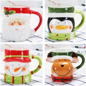 3D Santa Claus Snowman Ceramic Mugs Water Cups Coffee Milk Cup Cute Drinkware Christmas Snowman Elk Reindeer Coffee Cup 4Colors DHL HH7-1882